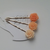 Spring bobby pins collection creams and peach flower clips