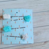 Fun button bobby pin collection in blue and white, fun hair clips