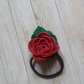 Red leather rose hair elastic band