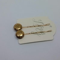 Copper shiny disk bobby pin Hair clips