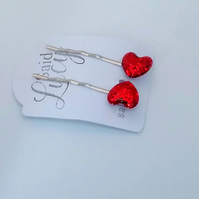 Red glitter heart bobby pins