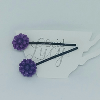 Purple flower hair clips on black bobby pins