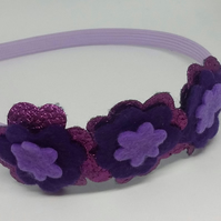 Purple hair band Alice band with flowers