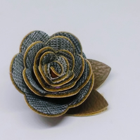 Hair flower brown Autumn fake leather flower clip