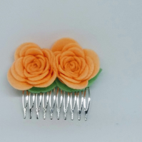 Peach Flower Hair Comb, Wedding Autumn Hair Accessory