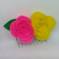 Flower Hair Comb yellow and pink