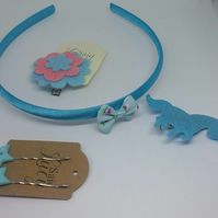 Hair set of blues head band, unicorn clip and star clips