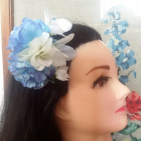 Fake Flower Hair Clips blue rockabilly