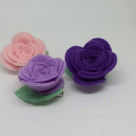 A  Set of 3 Felt Flower Hair Clips