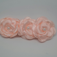 Peach satin flower hair clips bridesmaid