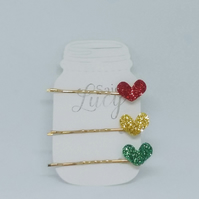 Christmas coloured glitter hair Clips bobby pins set