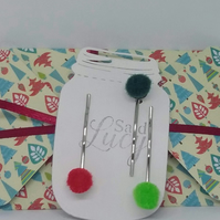 Felt Ball Christmas Ball Hair Clips