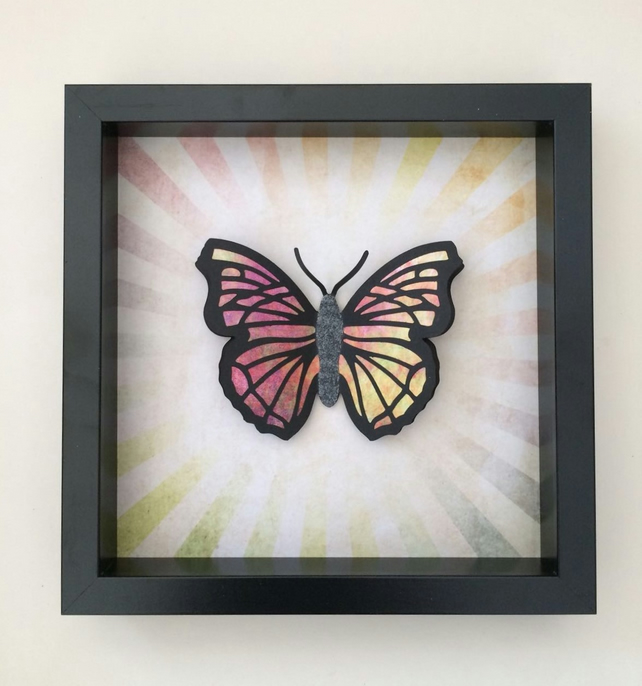 Large multi coloured 3D butterfly in box frame