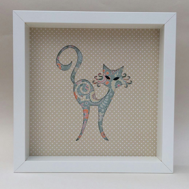 Box frame, framed art, cat, 3D