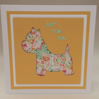 Water coloured floral scottie dog greeting card