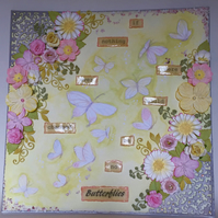 3D canvas board, mixed media, butterflies, flowers, quote
