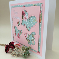 fluttery butterflies birthday card
