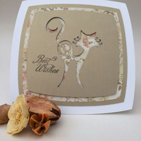 Contemporary sassy cat greeting card