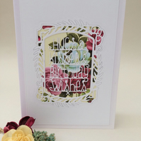 Pretty frame and roses birthday card