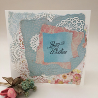 Shabby chic and lace greeting card