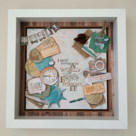 Travel theme box frame,gift for men,3d layered holiday frame.