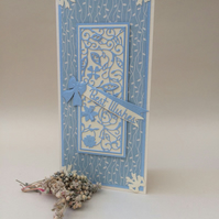 Delicate handmade birthday card,card for female,flowers and folige die cut card.