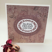 Vintage female card, handmade die cut card,any occasion card.
