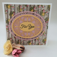 lovely card for female,handmade die cut greeting card,shabby chic card.