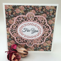 Ditsy rose floral card, handmade die cut greeting card,lovely female card.