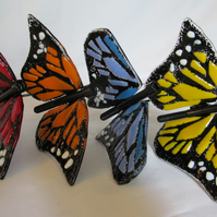 Pair of Fused Glass & Metal Butterfly Plant Pot Charms - Mother's Day Offer