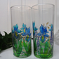 Hand Painted Glasses (Set of 2) - Blue Iris (Free Postage)