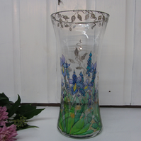 Hand Painted Vase - Blue Iris