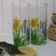 Hand Painted Hi Ball Glasses - Daffodil (Set of 2)