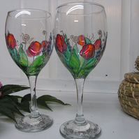 Painted Wine Glasses - Tulip (Set of 2)