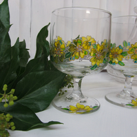 Painted Wine Glasses - Primrose (Set of 2)