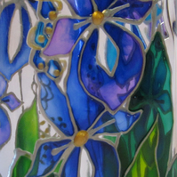 Painted Olive Oil Bottle (Blue Iris)