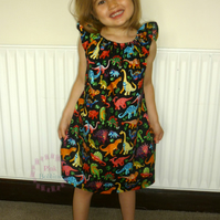 Dinosaur dress - girls dinosaur dress - dinosaur party dress - 18m to 4yrs
