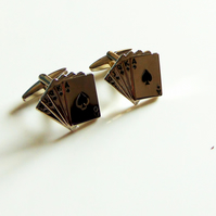 Silver & Black Playing Cards Cufflinks