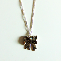 Antique Silver Bow Charm Pendant