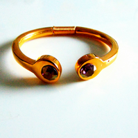 Gold Coil Swarovski Crystal Bangle