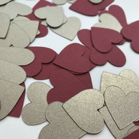 Valentine's Day Table Confetti - Wedding Table Confetti - Red and Gold Hearts