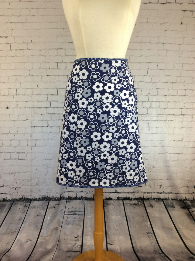 Navy and white daisy 'A' line summer skirt