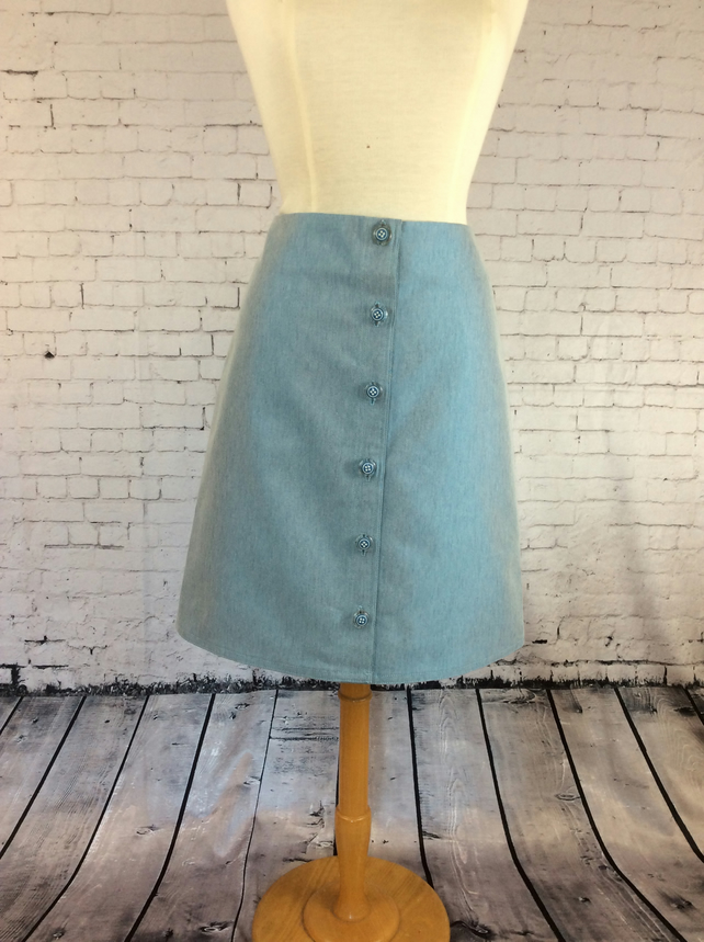 Turquoise blue denim button front 'A' line skirt
