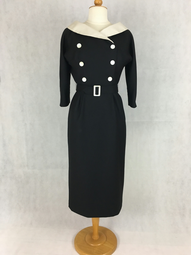Black wool 60's style dress with shawl collar
