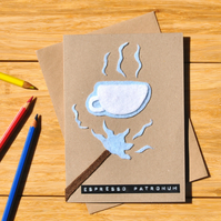 Harry Potter parody card 'Espresso Patronum' Coffee lover joke