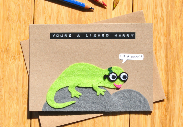 Harry Potter parody card 'You're a lizard Harry' Cute lizard card