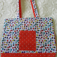 Shopping bag, Tote bag, handmade in cotton
