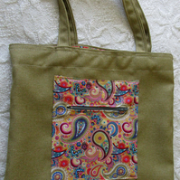 Tote or Shopping bag in Olive Green fabric
