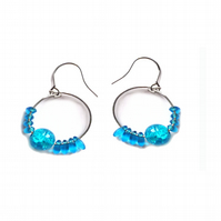 Blue Seed And Loop Ear Rings
