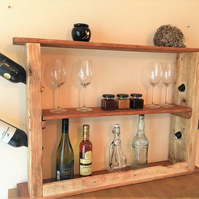 Rustic wine rack from reclaimed wood, wine bottle and glass holder,